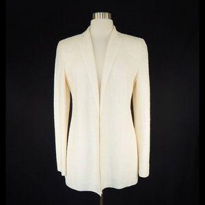 Akris Ivory Woven Open Front Jacket Blazer US 6